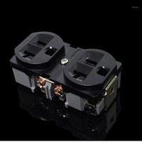 Akıllı Güç Fişleri 2 adet Soket Siyah HiFi ABD 20A AC Priz Kırmızı Bakır Distribütör1