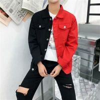 Mens Casual Slim Denim Giacca Giacca Uomini Bianco e Bianco Jeans Red Jeans Giacca Homme Lettere Ricercata Streetwear Denim Cappotto uomo QN1
