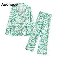 Aachoae Fashion Zebra Striped Print Sleepwear Set Women 2 Piece Pants Set Pijamas Casual Tops And Wide Leg Pants Female Homewear 201012