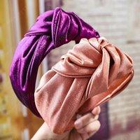 Seide breite seite stirnband geknotete kopf haarbänder gelbeel turban frauen mädchen haarschmuck haarnahrungsmittel headwear schadkleid