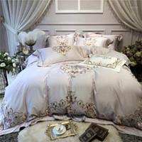 Luxus schicke graue ägyptische Baumwolle Bettwäsche Set 4 stücke Queen King-Size Bettsheet / Einbau Blace Set Stickerei Duvet Cover Bed1