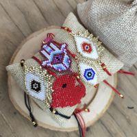 Bracelets de charme Shinusboho Miyuki Bracelet Femmes Turquie chanceux Evil Eye Bijoux Pulsera Mujer Moda 2021 Cœur rouge Fatima Hamsa Gift1