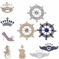 Pins, broches moda jóias strass sapatos de salto alto broche king trendy cristal pins para mulheres atacado varejo gota 1