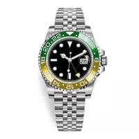 노란 녹색 시계 세라믹 베젤 망 자동 운동 시계 디자이너 jubilee 스트랩 빛나는 실행 멀리 손목 시계 Chrono 몬트르 homme de luxe