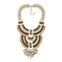 Colpi d'annata Dichiarazione Gypsy Collana Donne Boemia Etnica Big Choker Femme Maxi Power Big Collare gioielli1