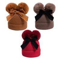 Baby Sachen Doppel Pompom Hut Winter gestrickte Kinder Baby Mädchen Hut Warme Dicker Kinder Infant Beanie Cap Bonnet Casquette Enfant1
