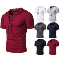 2021 Vendita calda Uomini allentati T Shirt Hip Hop Solid Mens Maniche corte Abbigliamento Casual T-shirt T-shirt con cappuccio