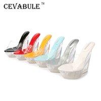 Cevabule ultra-alto calcanhar fresco chinelos alta transparente declive plataforma impermeável à prova d 'água sexy sandálias abertas mulheres wz-126 t200605