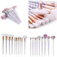 Unicorn Makyaj Fırçalar Set 10 adet Makyaj Fırça Kiti Vida Kolu Şekilli Plastik Yüz Göz Farı Kozmetik Aracı 11AF B2