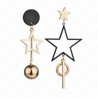 استرخى الثريا غير النظامية خماسية ستار ستار أقراط للمرأة أزياء طويلة جولة الكرة الشرابة الذهبي الإناث 2021 مجوهرات 1