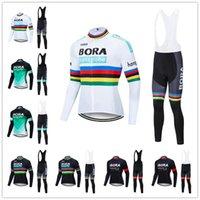 보라 팀 사이클링 긴 Sleevess 유니폼 (턱받이 세트) 사이클링 저지 젤 패드 자전거 세트 MTB Sobycle 로파 Ciclismo 남성 자전거 착용 Z -8