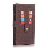 متعددة الوظائف Zip جلدية محفظة القضية ل iphone12pro ماكس XR 11 7 8 XR XS ماكس سستة المحفظة حالة لسامسونج S20 Note20