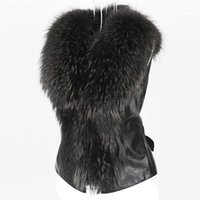 Gilets pour femmes 2021 Chic Dame Faux fourrure Vest Casual Wilde Hiver Automne Solide V-Colf Col à glissière Soft Sans manches Women Work Wetwear Manteau 202111