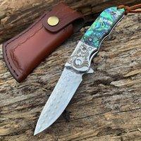 SAMSEND Damasco bolso caça lâmina Folding faca tático combate EDC Facas Damasco Faca de serviço público