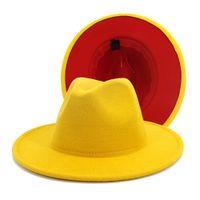 Unisex Düz Brim Yün Erkekler Kadınlar yüksek kalite için Kemer Kırmızı Siyah Patchwork Caz Biçimsel Şapka Panama Cap Trilby Chapeau ile Fedora Şapka Keçe