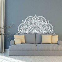223 * 110 cm Tamaño de lage Tamaño de plata de oro Mandala, Media Mandala Vinyl Wall Etiquetas de pared, Ideas de yoga Theme Murales Decoración del hogar LC1475 201204