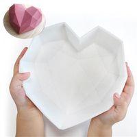 Moldes de silicone de coração quebrável venda quente para moldes de coração de bolo de diamante de chocolate moldes de coração de mousse de chocolate