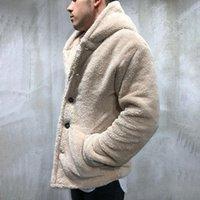 Erkek Ceketler Polar Teddy Ceket Sonbahar Kış Katı Renk Hırka Casual Tops Kürk Hoodies Eşofman Dış Giyim Erkek