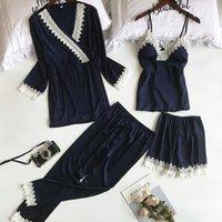 LisacMvvnel 4 PCS Encaje Sexy Robe conjuntos Spaghetti Strap + Cardigan + Pant Make Set Sexy Fashion Pijamas para Mujeres Y200425