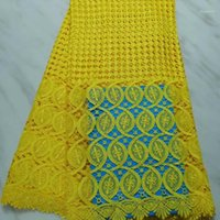 Tissu haute classe pure couleur suisse eau soluble dentelle de dentelle de broderie 5 verges Bon cordon de matériau africain pour mariage1
