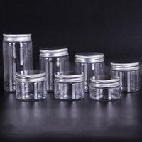 30 ml 40ml 50ml 60ml 80 ml de frascos de plástico transparente PET de plástico de plástico cajas botellas redondas con tapas de aluminio plástico GWF6049