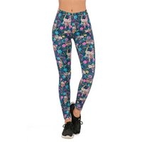 Marques Femmes Femmes Mode Scorging Floral Sloth Impression Leggins Slim Legins High Taille Leggings Femme Pants 201203