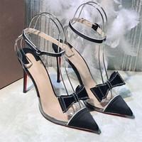 Sandálias baixas de verão dos saltos de verão, Bombas de fundo vermelho transparente de cristal de cristal para a senhora da forma na festa Sandálias das mulheres do casamento