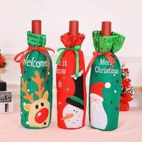 25 와인 병 커버 산타 클로스 와인 병 홀더 선물 크리스마스 병 홀드 백 케이스 눈사람 크리스마스 홈 크리스마스 장식 EEC2711 디자인