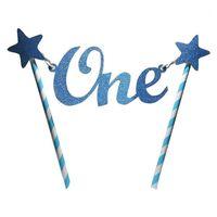 OTROS SUMINISTROS DE FIESTA FESTIVO LINDO LINDO STAR GLITLER único de un año 1er Feliz Cumpleaños Topper Bunting Banner Decoración Accesorio1