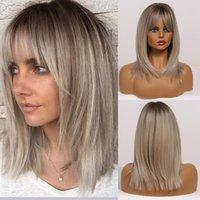 Comprimento sintético Ombre Brown para perucas de cabelos lisos loira com perucas sintéticas frangadas para mulheres perucas naturais resistentes ao calor Cosplay