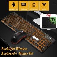 Teclado Mouse Combos Multimídia 2.4G Sem Fio Recarregável Mudo LED Backlit Gaming Pad Set1