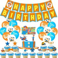 10pcs Blippi theme birthday party decoration balloons baby b...