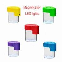 플라스틱 유리 LED 항아리 라이트 업 배율 공기 단단한 증거 봉인 155 ml 컨테이너 알약 상자 케이스 저장 스틸라