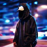 Nagri Yüksek Boyun Balık Ağız Kazak Japon Tişörtü Erkekler / Kadın Hoodies Büyük Boy Streetwear Hip Hop Harajuku Erkek 201114 Tops