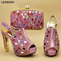 Kleid Schuhe Afrikanische und passende Taschen Hohe Qualität Italienische Schuhbeutel Set für Party in Frauen Heeld Hochzeitssets