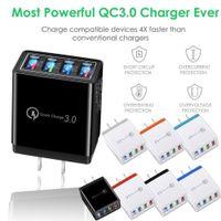 Bon qualité Qualtiy 4 Port Fast Charge rapide QC 3.0 USB Hub Hub Chargeur 3.5A Adaptateur secteur EU / US Plug Chargeurs de la batterie de voyage pour iPhone 11 12