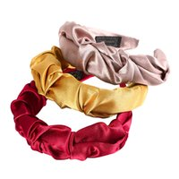 Pleated Satin Solid Color Headband for Women Bezel New Turban Girls Hairbands Accessories Hair Hoop Hair Jewelry