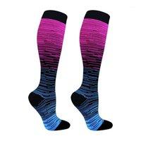 Adulto del sudore che assorbe escursionismo gradiente di colore di colore in nylon traspirante supporto sportivo traspirante calzini di compressione elasticizzati antiscivolo confortevole1