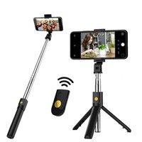 Nova multi-função K07 sem fio Bluetooth Selfie Stick Dobrável Handheld Monopé Shutter Remoto Extensível Mini Tripé para telefone inteligente