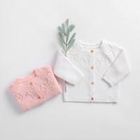 Ins Bebek Çocuk Giyim Hırka Örme Katı Renk Oymak Düğmeler Tasarım Kazak 100% Pamuk Butik Kız Bahar Güz Kazak