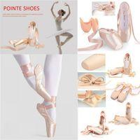 Взрослые женщины девочка шнурок розовый сатин верхняя лента танцевальная обувь гимнастический профессиональный балет Pointe ботинок с гелем силиконовые пальцы TOE EUR размер 31-43