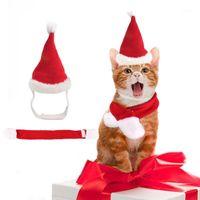 Noel Pet Set Sevimli Pet Köpek Kedi Şapka Santa Şapka Eşarp Pelerin Küçük Orta Kedi Köpek Moda Noel Kutlama Giysileri1