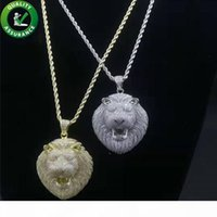 Iced Out Pendant Hip Hop Bling Chains Jóias Men Designer Colar Mens corrente do ouro pingentes de diamantes Lion Acessórios de Moda Rapper