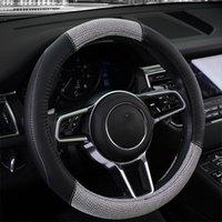 38CM PU-Leder-Flachs-Faser-Auto-Lenkrad-Abdeckung Universal Car-Styling Auto Lenkradbezüge Anti-Rutsch-Auto-Zubehör