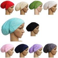 Beanie / Kafatası Caps Casual Bayanlar Başlık Aksesuarları Müslüman Kadınlar Uzun Tüp Kap Dantel Dekorasyon Kuyruk Saç Dökülmesi Türban Şapka Uyku