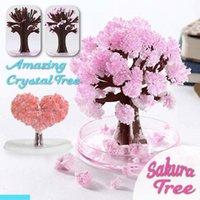 Magic rosnące drzewo papier sakura kryształ drzewa pulpitu wiśniowe blossom zabawki Aug889