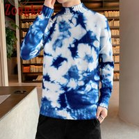 Zongke Tie Dye Knit Sweater Men Korean Mens Clothes Pullover Men Sweaters Mock Neck Winter Sweater 2020 New Arrivals M-3XL