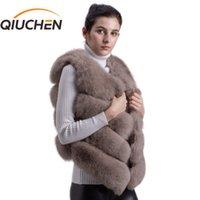 Qiuchen pj8005 nova chegada venda quente natural raposa raposa pele curta gilet para inverno mulheres colete de alta qualidade grosso peles 201113