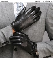 رجل قفازات ذكر فاخر PU جلدية الشتاء الدافئة قفازات للدراجات النارية كاملة أصابع القيادة الحارة الكشمير القفاز القفازات # 5 $
