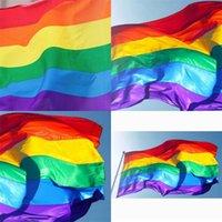 90 x 150cm 레인보우 플래그 6 색 줄무늬 큰 깃발 코트 야드 장식 분위기 배너 뜨거운 판매 새로운 4 8 hm F2